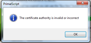 The certificate authority is invalid or incorrect