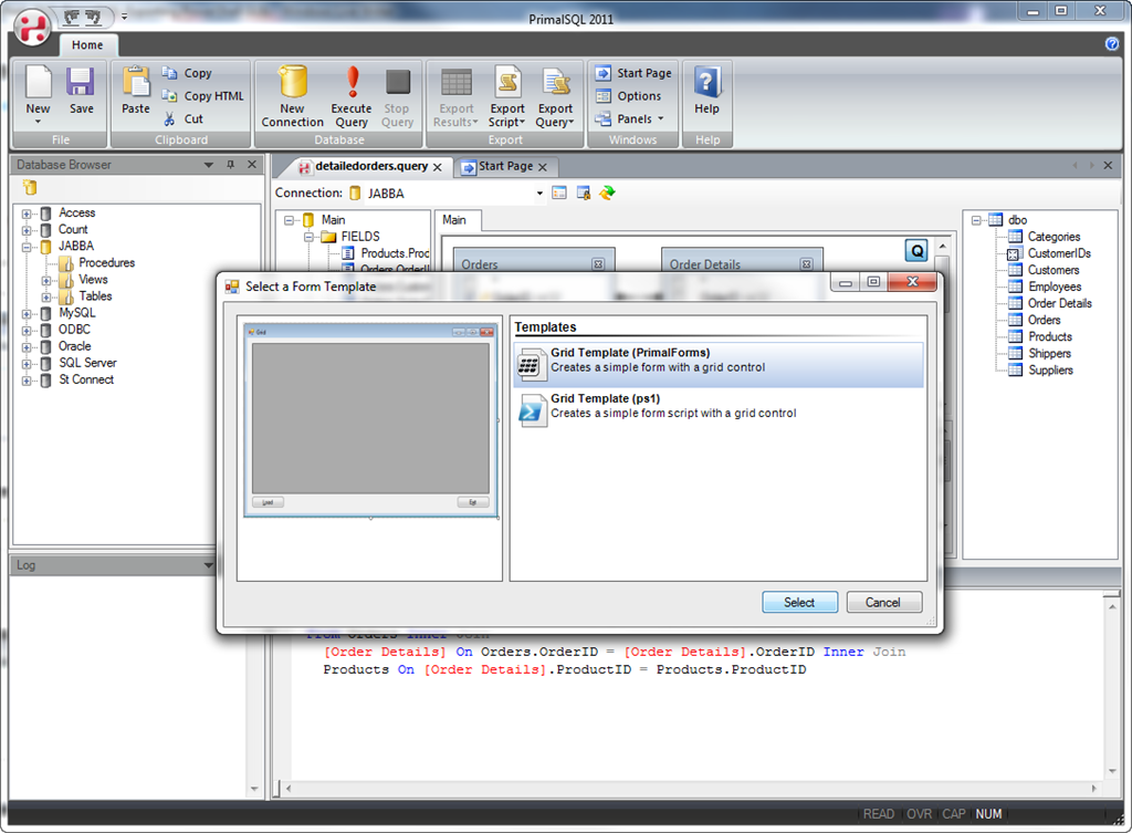 Feature Peek 2011: PrimalSQL – Exporting PowerShell GUIs