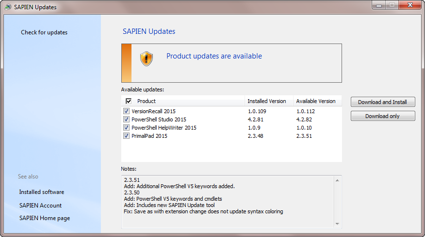 New SAPIEN Update tool integrated into all 2015 products