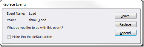 Replace event dialog