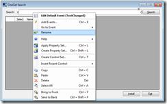 Designer context menu