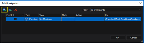 the Edit Breakpoints dialog box display shows that it's created and enabled.