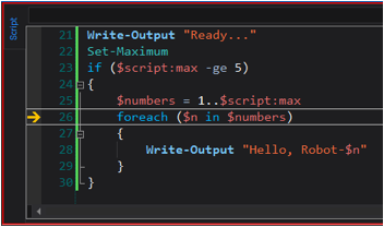 a write-mode variable breakpoint on 'n' is triggered on line 26, when the value of $n changes to the next value in the $numbers array.