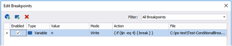 use the Break keyword in my script block to tell Windows PowerShell to break into the debugger when the condition is met.