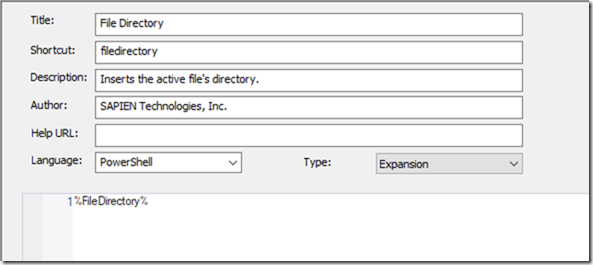 FileDirectory Snippet