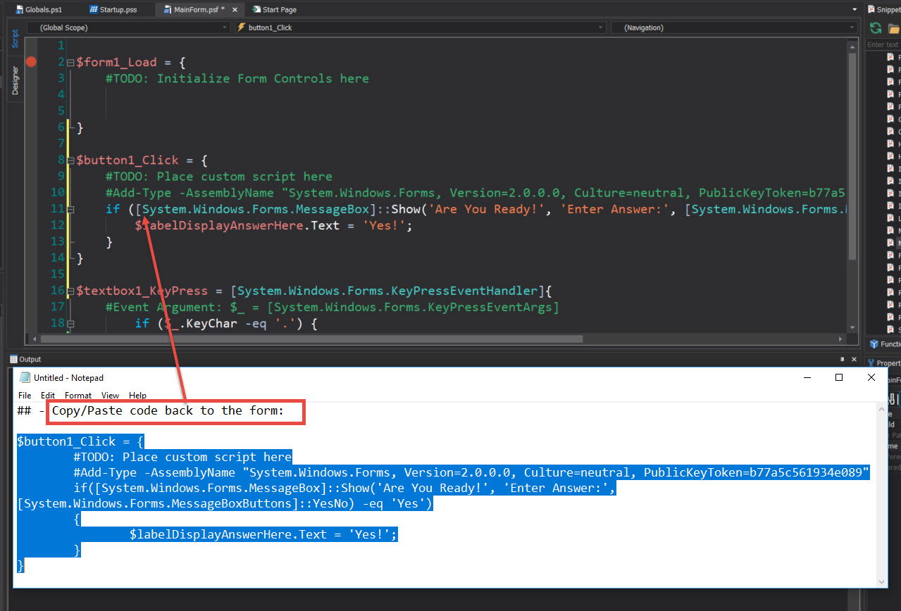 PowerShell Studio: Working with Windows Form Control Event