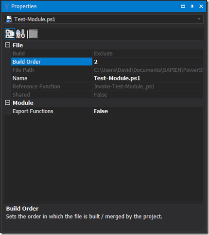 Project File - Build Order