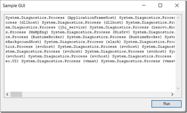 Sample GUI Bad Output